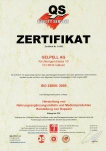 ISO-22000:2005 Zertifizierung Gelpell