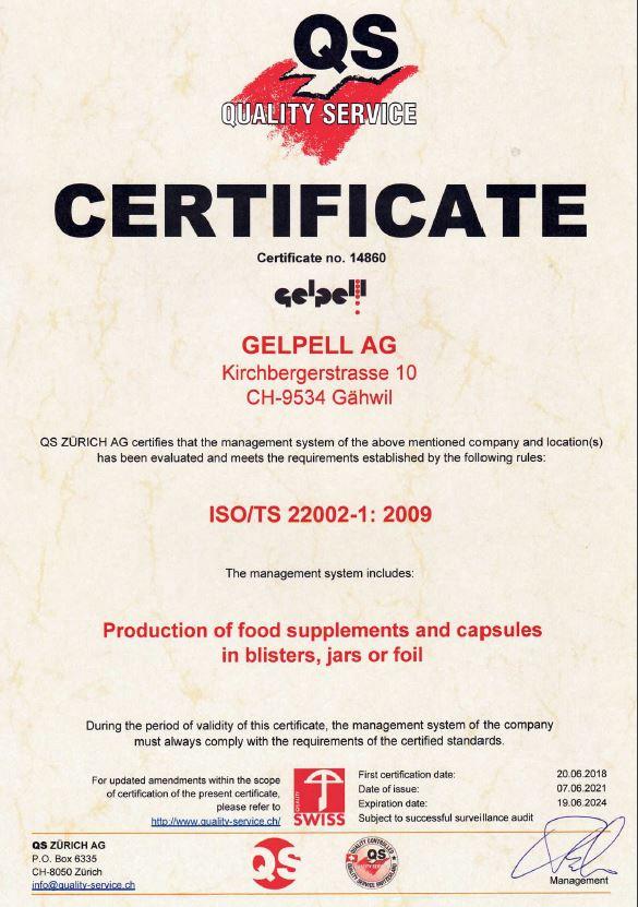 ISO TS 22002-1 Zertifizierung Gelpell